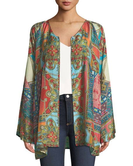 Afterglow Button-Front Silk Tunic, Plus Size