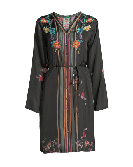 Winter Embroidered Button-Front Dress w/ Belt