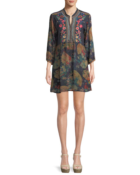 Johnny Was Fusai Floral-Print Tunic Dress