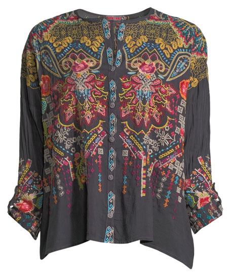 Valley Embroidered Button-Front Blouse