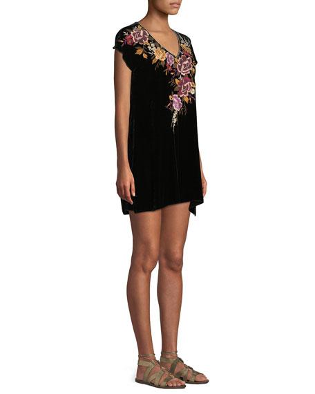 Plus Size Zosia Embroidered Velvet Tunic Dress