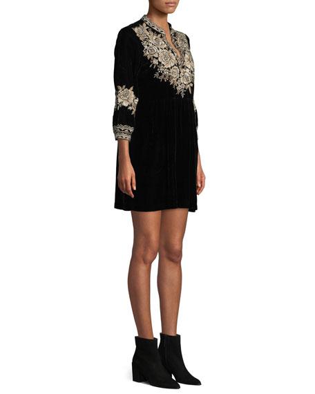 Plus Size Olenna Henley Boho 3/4-Sleeve Velvet Dress