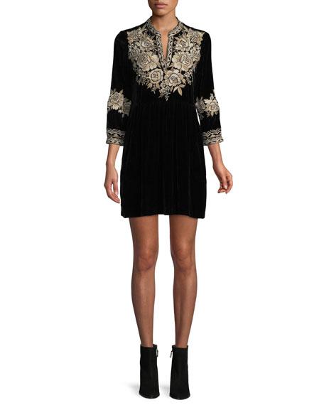Johnny Was Olenna Henley Boho 3/4-Sleeve Velvet Dress,
