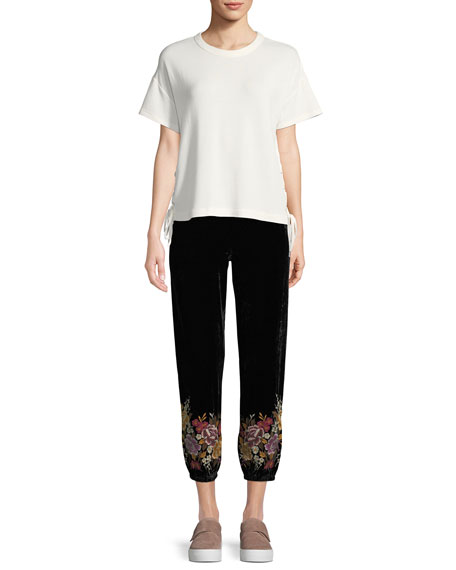 Velvet Jogger Pants with Embroidered Cuffs