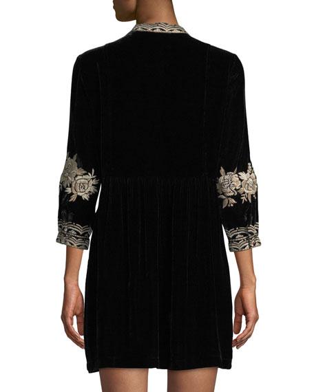 Olenna Henley Boho 3/4-Sleeve Velvet Dress