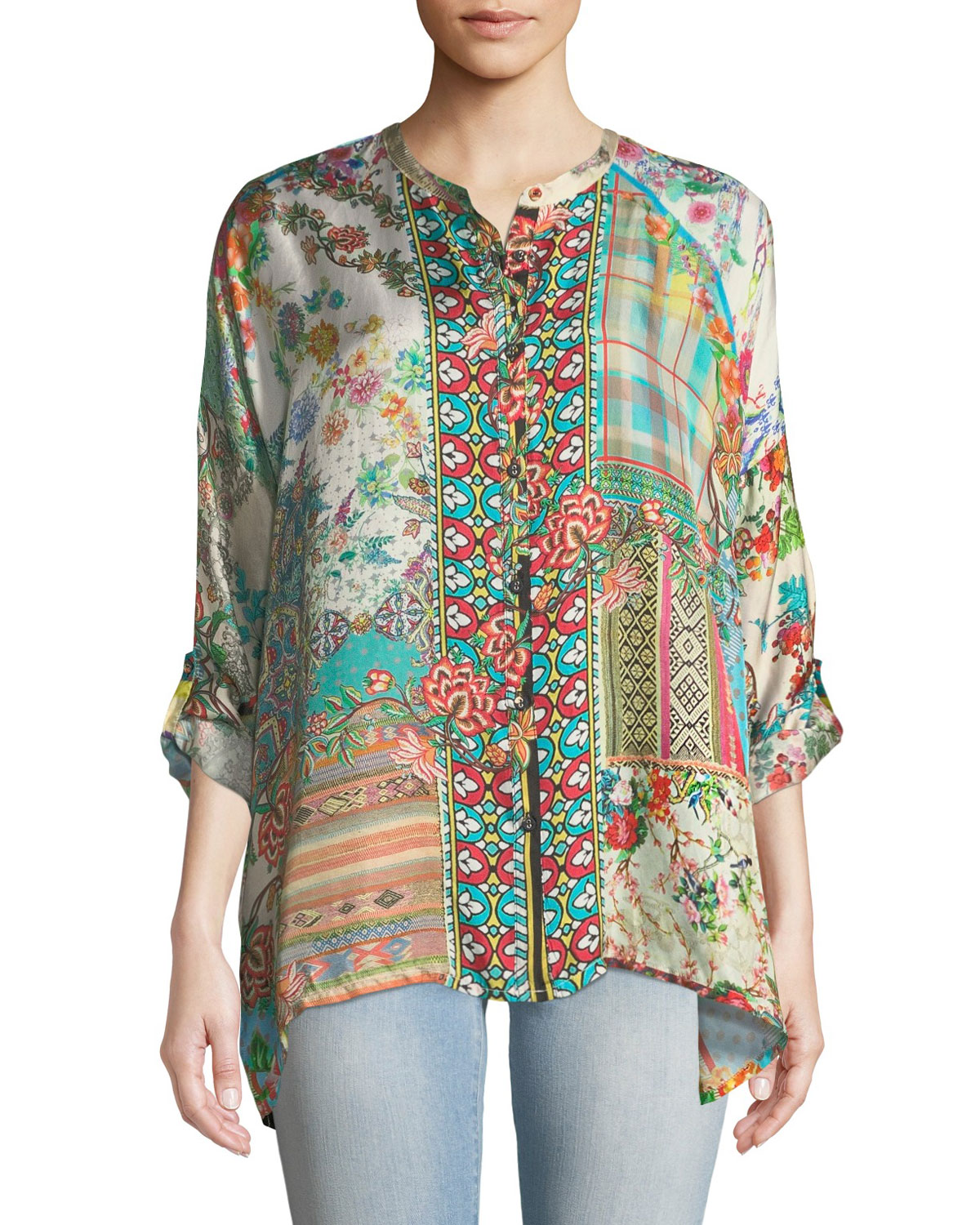 a4a3dd74741 Johnny Was Plus Size Resort Boxy Silk Button-Front Tunic | Neiman Marcus