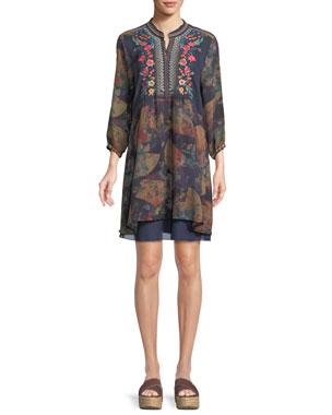 9f50e5c865 Johnny Was Plus Size Fusai Floral-Print Tunic Dress