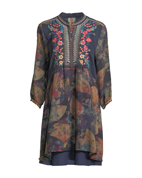 Fusai Floral-Print Tunic Dress, Plus Size