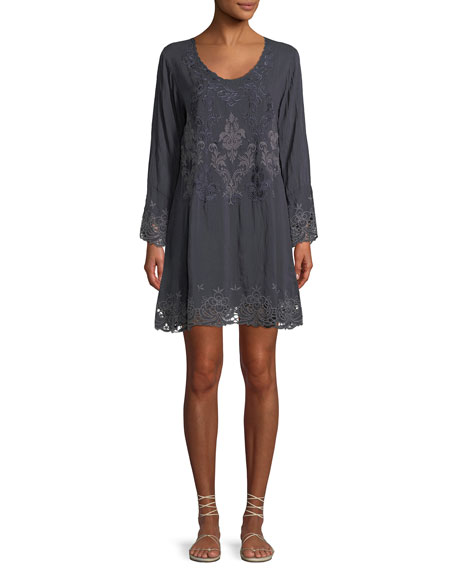 Robin Long Embroidered Georgette Tunic, Plus Size