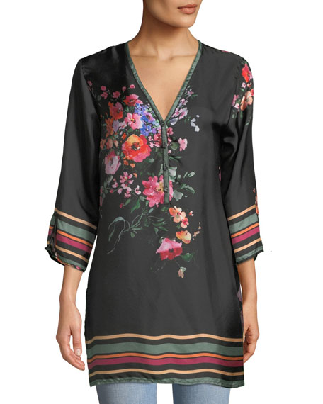 Johnny Was Resort Rose-Print Silk Blouse, Plus Size