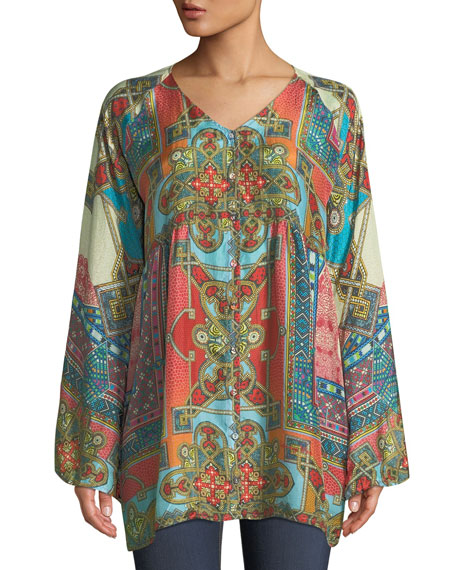 Johnny Was Afterglow Button-Front Silk Tunic