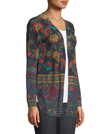 Long-Sleeve Printed Cotton/Cashmere Cardigan Sweater