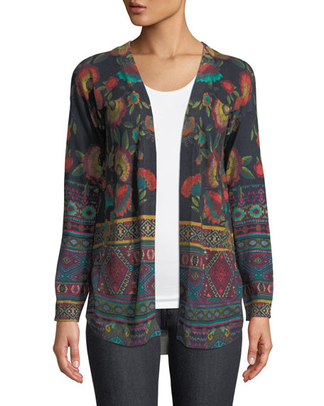 Johnny Was Long-Sleeve Printed Cotton/Cashmere Cardigan Sweater