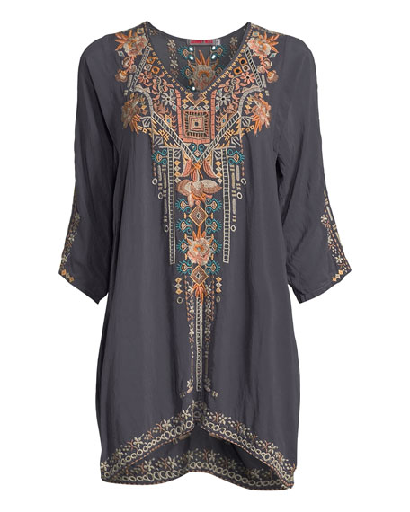 Mikaela 3/4-Sleeve Embroidered Tunic