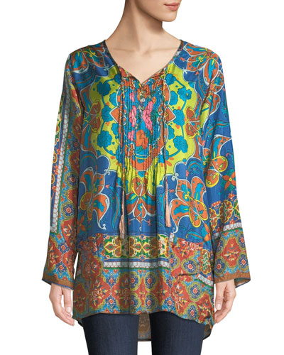 Valeni  Tie-Neck Printed Silk Georgette Tunic, Plus Size