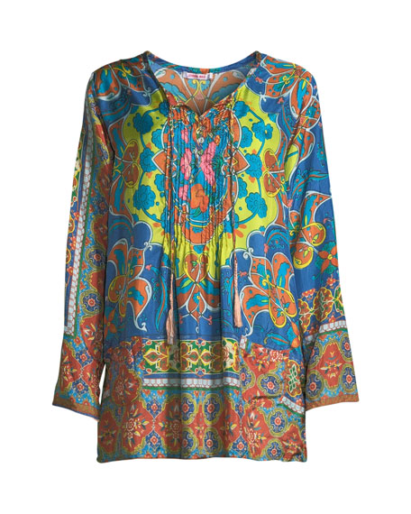 Valeni  Tie-Neck Printed Silk Georgette Tunic, Plus Size