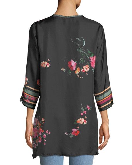 Resort Rose-Print Silk Blouse