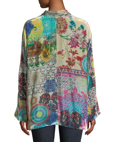 GG Velvet Kimono Jacket, Plus Size