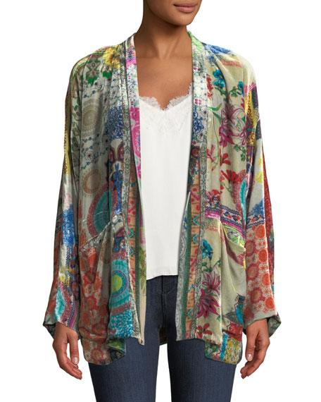 Plus Size GG Velvet Kimono Jacket