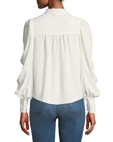 Kineta Gathered Tie-Neck Long-Sleeve Blouse