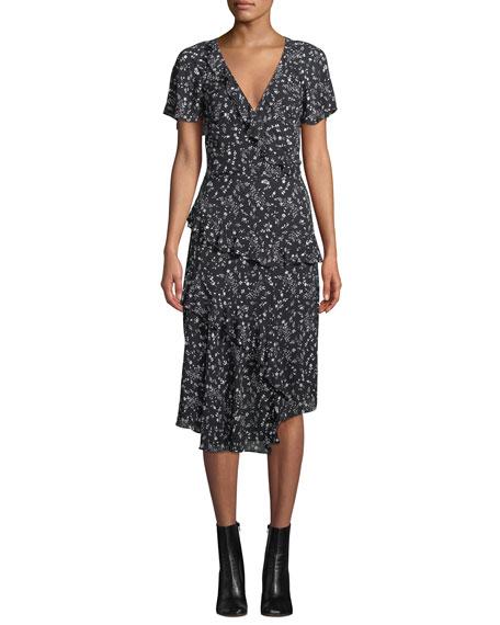 Joie Orita Ditsy Floral-Print Ruffle Midi Dress