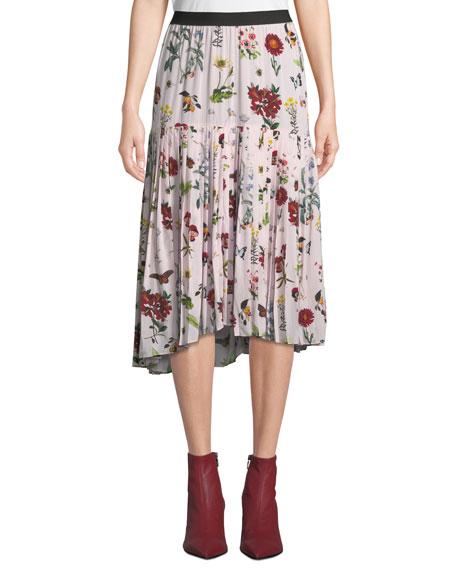 Talise Floral-Print Flounce Midi Skirt
