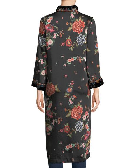 Mix Floral-Print Velvet Kimono Jacket, Plus Size
