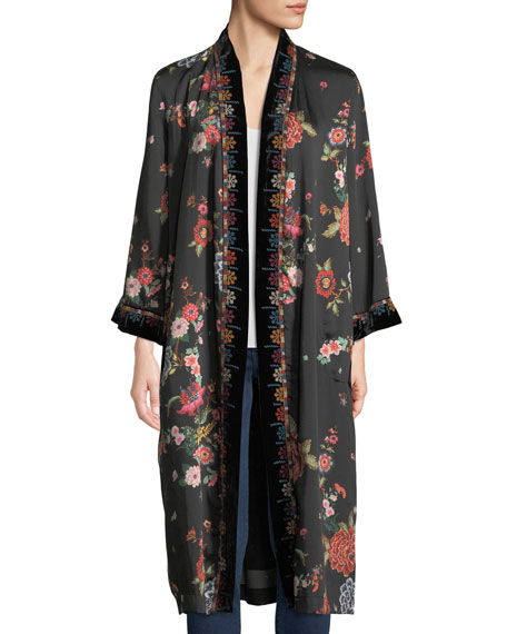 Johnny Was Mix Floral-Print Velvet Kimono Jacket, Plus