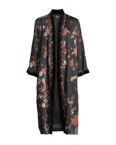 Velvet Mix Floral-Print Kimono Jacket