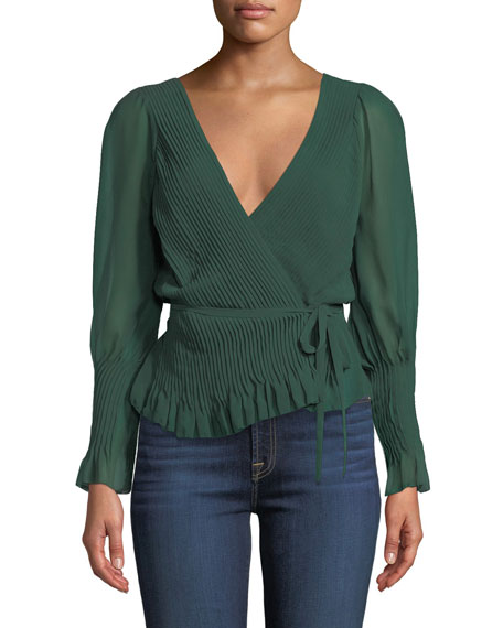 Kaliska Pintuck Tie-Front Long-Sleeve Top