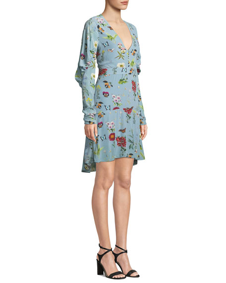 Tamarice Floral Long-Sleeve Short Dress
