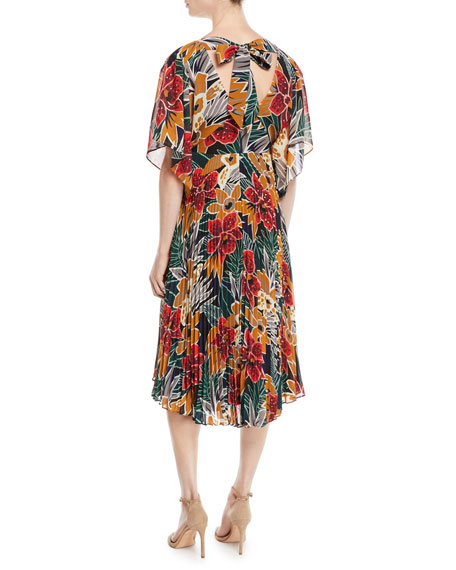 Zorbina Pleated Floral Midi Dress
