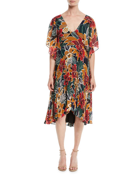 Club Monaco Zorbina Pleated Floral Midi Dress