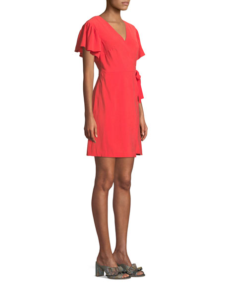 Geovanna Flutter-Sleeve Wrap Dress