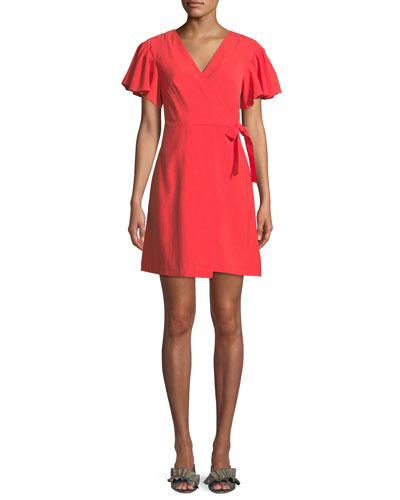 Geovanna Flutter-Sleeve Wrap Dress