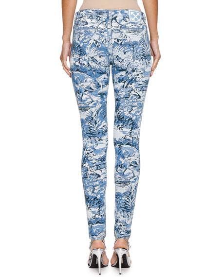 Tapestry-Print Skinny Jeans