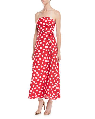 McGolrick Strapless Polka Dot Maxi Dress