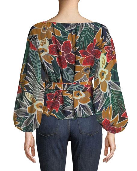 Riston Floral-Print Wrap Blouse