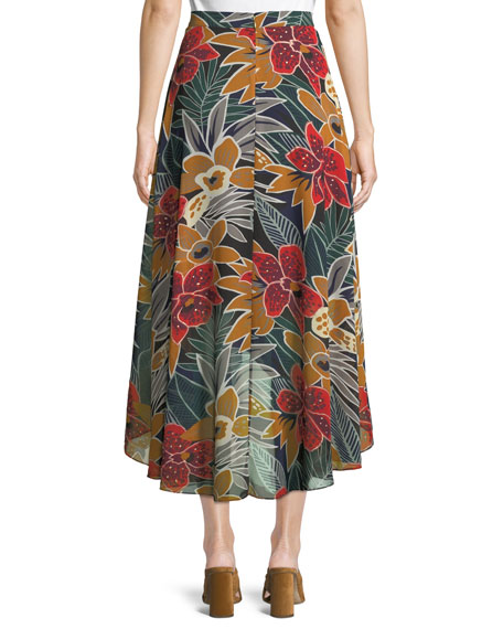 Elianna High-Waist Floral Midi Skirt