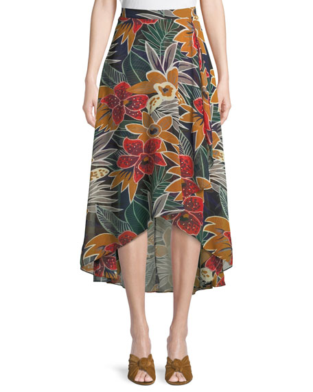 Club Monaco Elianna High-Waist Floral Midi Skirt