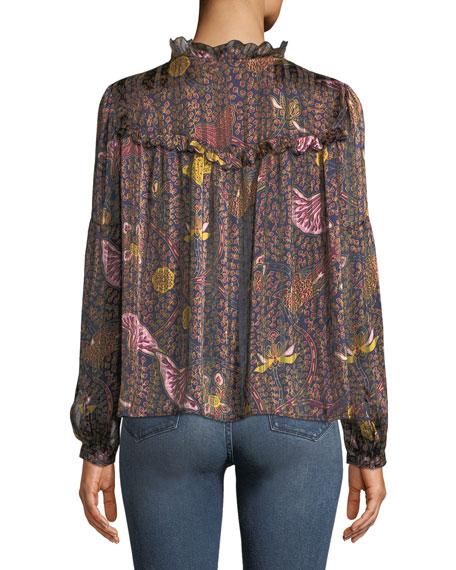Danila Long-Sleeve Printed Ruffle Blouse