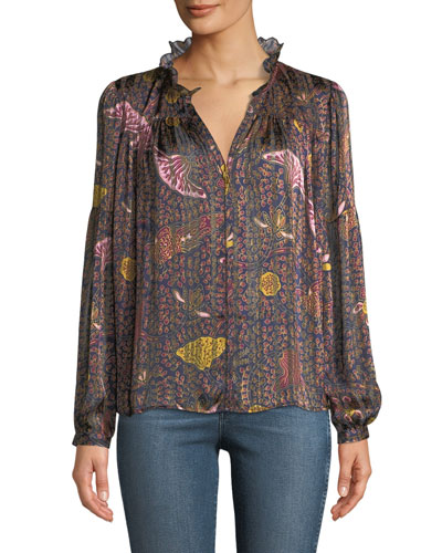 Danila Long-Sleeve Printed Ruffle Blouse