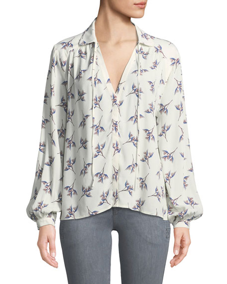 BA&SH Fausta Floral Button-Front Blouse in Ecru