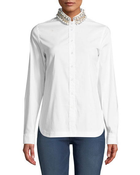 Ursula Embellished Button-Front Top