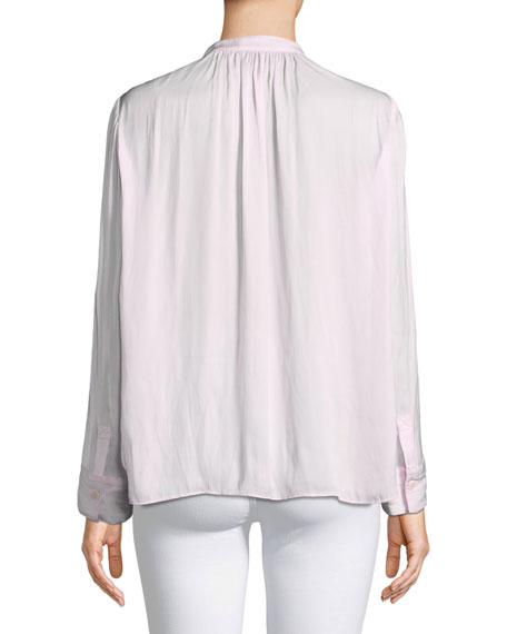 Tink Satin V-Neck Long-Sleeve Blouse