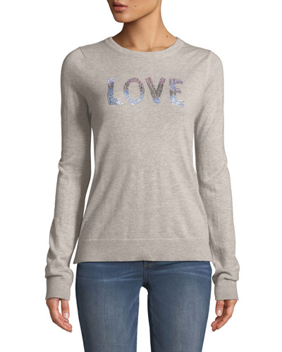 Love Embellished Graphic Cashmere Sweater