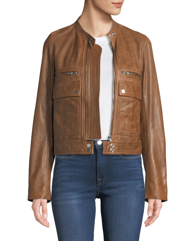 Love Zip Front Leather Aviator Jacket
