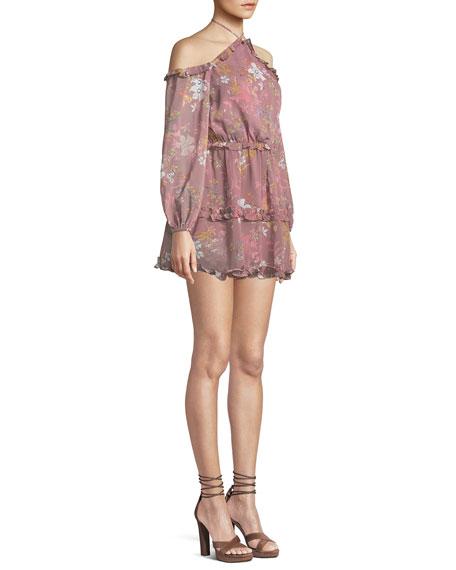 Donna Floral-Print Ruffle Off-Shoulder Halter Dress