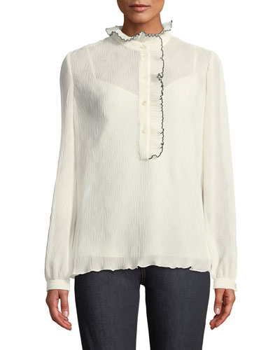 Mel Blouse w/ Ruffle Trim & Piping