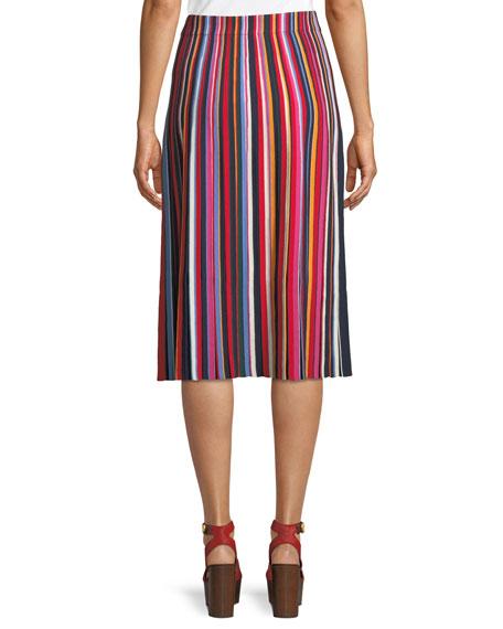 Ellie Long Skirt w/ Pleated Stripes